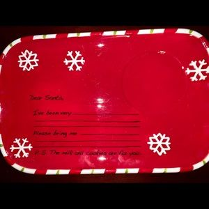 North Pole Trading Red Letter Santa Cookie Plate